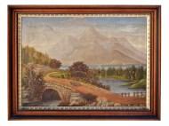 Lot 205: 19th C. Folk Landscape Painting
