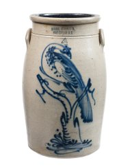 Lot 23: 19th C. Stoneware Butter Churn
