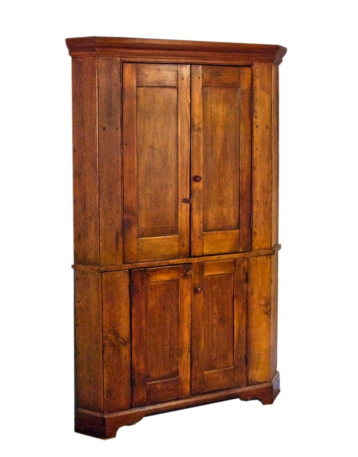 Lot 90: 19th C. Corner Cupboard