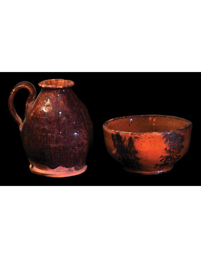 Lot 9B: Two 19th C. Redware Pieces