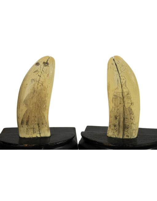 Lot 35A: 19th C. Pair of Sperm Whale's Teeth