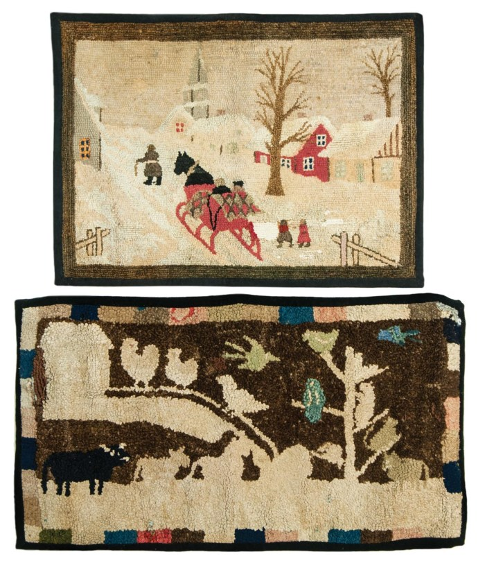 Lot 137: Two Small Pictoral Hooked Scatter Rugs