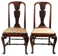 Lot 187: Pair of 18th c. Queen Anne English Side Chairs