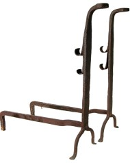 Lot 192: 18th c. Tall Forged Andirons