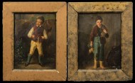 Lot 252: Pair of 19th c. Painting on Tin