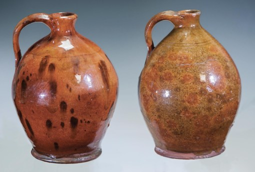 Lot 30: Two Redware Ovoid Jugs