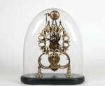 Lot 24: 19th C. Brass Skeleton Frame Mantel Clock