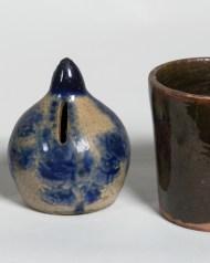 redware, handled, mugs, stoneware, bank