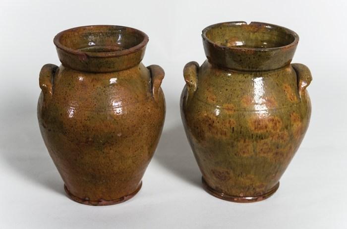 redware, ovoid, jugs