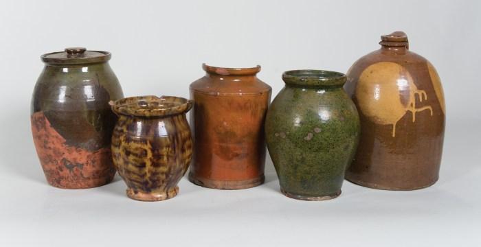 redware, pots, ovoid, crock