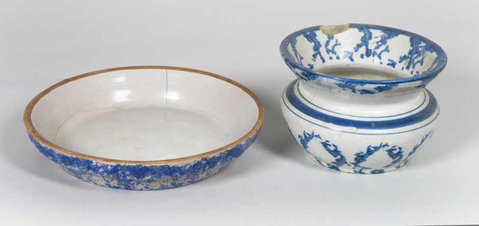 spongeware, bowl, pitcher