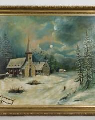 oil, painting, moonlit, winter