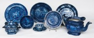Blue, English, Staffordshire, bowl, teapot
