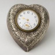 sterling, silver, heart, clock