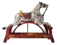 rocking, horse, carved, wood