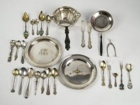 Sterling Pan, Tea Strainer, Plates, Tongs, Flatware