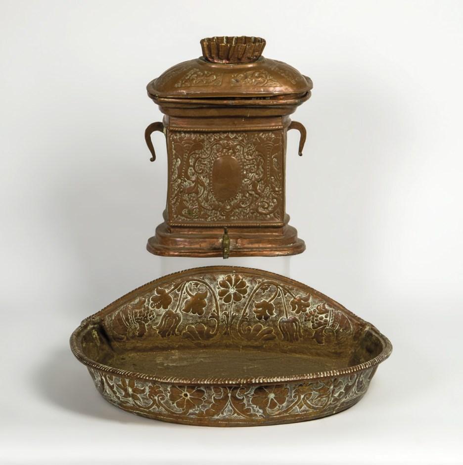 Copper Trough and Liquid Container