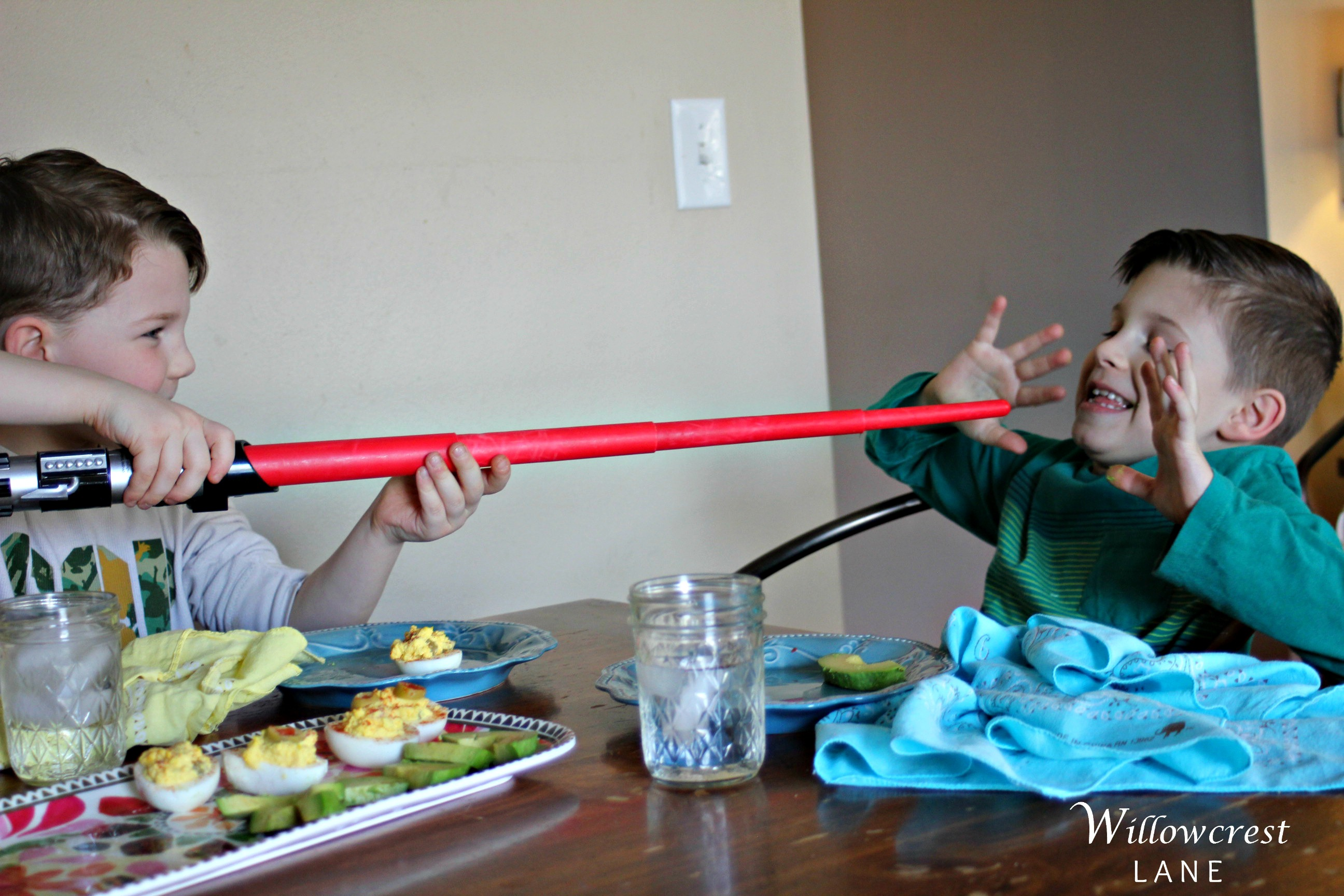 This is what pretty much any activity looks like around here: sword fights with big weapons.