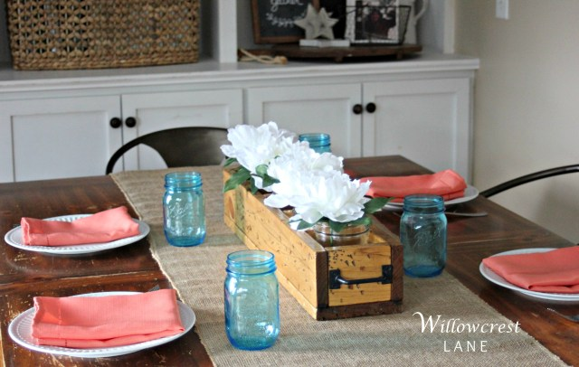 Rustic farmhouse centerpiece with compartments