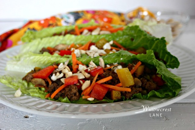 Family style, clean eating Asian lettuce wraps