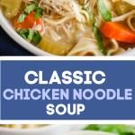 Sup mie ayam klasik dengan wortel, seledri, bawang merah, dan mie