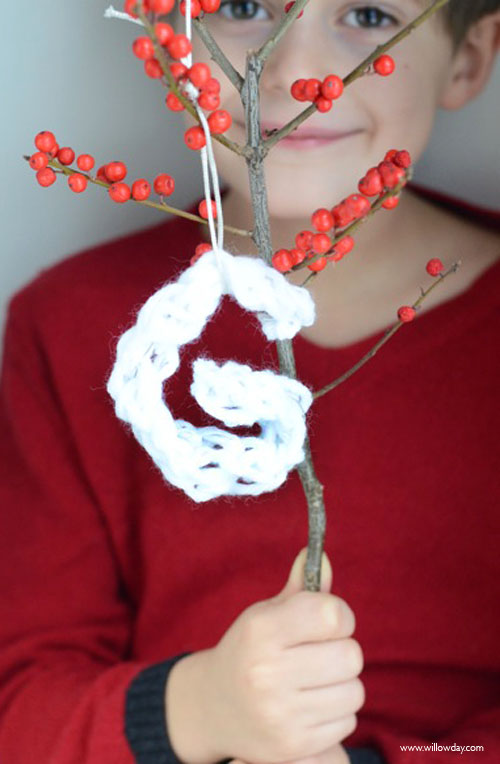 Finger Knit Letter Ornaments