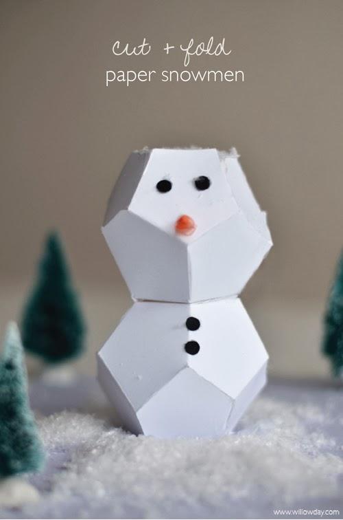 Cut + Fold Paper Snowmen
