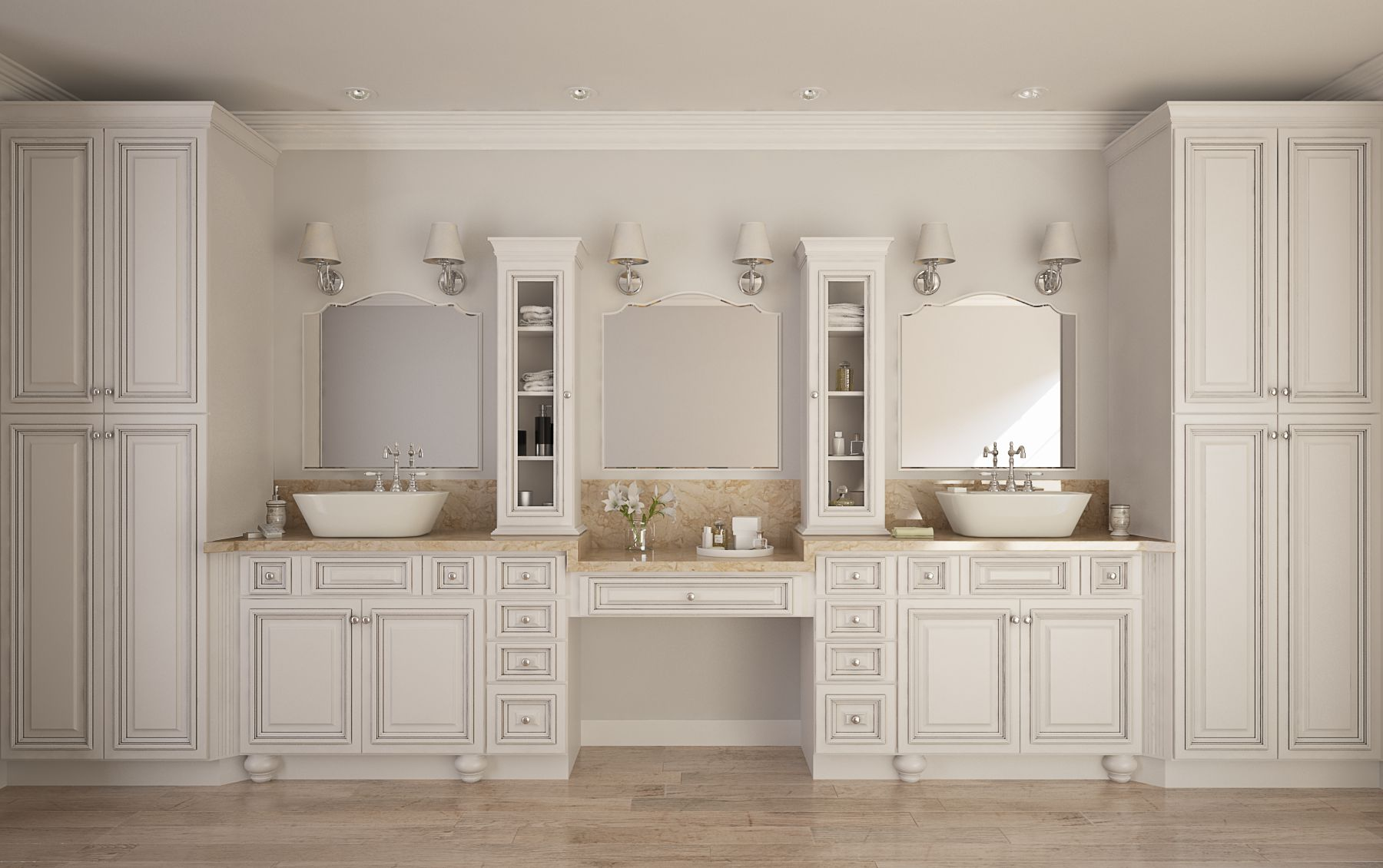 Roosevelt White With Chocolate Accent Kitchen Cabinets