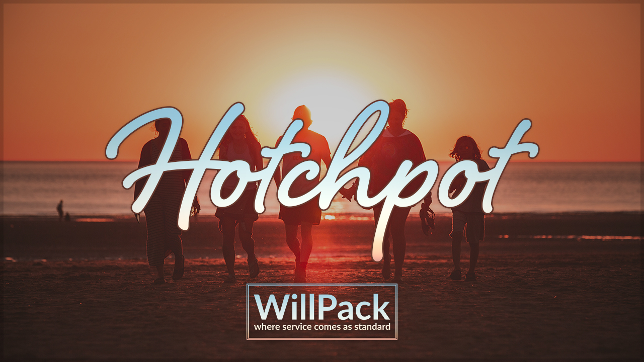 Hotchpot, beach, family, sun, sand, sea, sunset, text, logo,