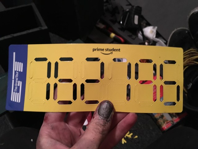 Top Gear's The Grand Tour Number Magnet - with 762796 punched into the digits.