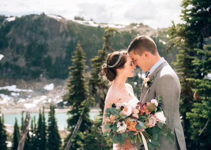 wedding photo on top of whistler