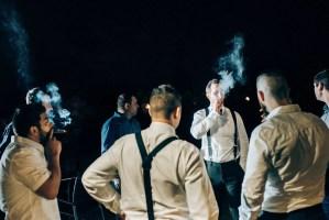 023 groomsmen smoking westwood plateau