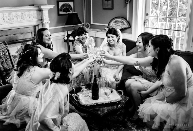 018 - black and white cheers wedding photo