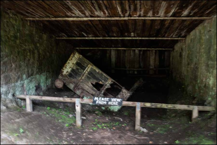 Wagon in the catch pit at the bottom of the Sheep Pasture Incline