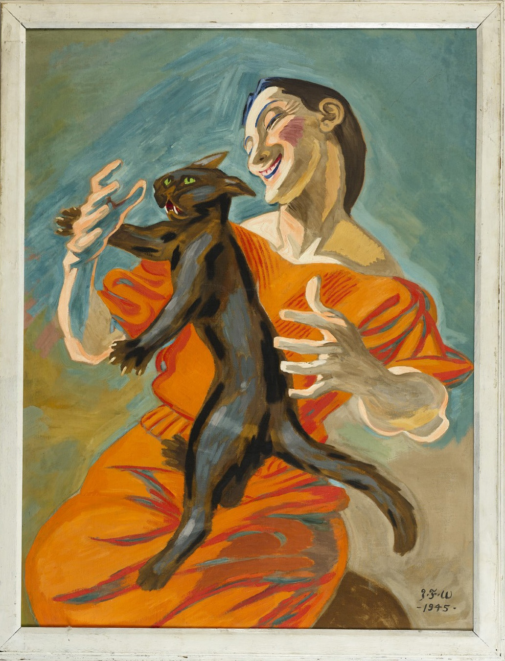 Dame leger med en sort kat J.F. Willumsen