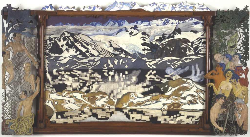 Gengivelse af J.F. Willumsens værk fra 1892-1893 Jotunheim. Med Jotunheim har J.F. Willumsen skabt en syntese af det norske bjerglandskab og sine ideer om mennneskelivet. Med en kombination af malet lærred, og en udskåret træramme, bemalede zinkrelieffer og emalje på kobber har han samlet mange forskellige udtryk.
