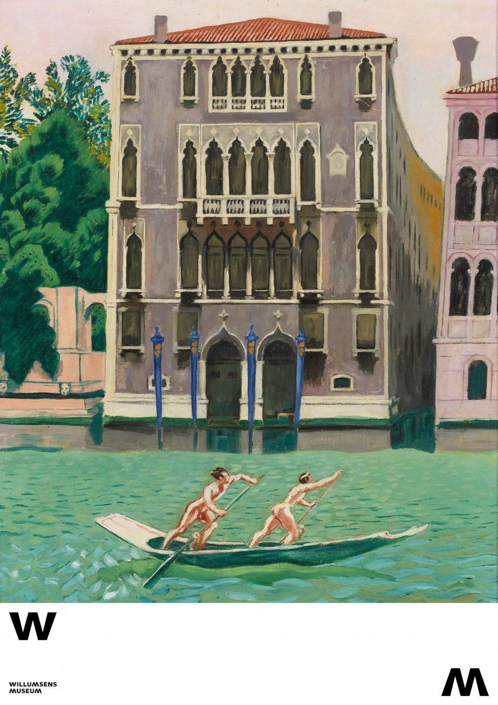 Plakat med motiv af Willumsens værk Palazzo Morosini ved Canal Grande. En gondol med to nøgne roere fra 1934