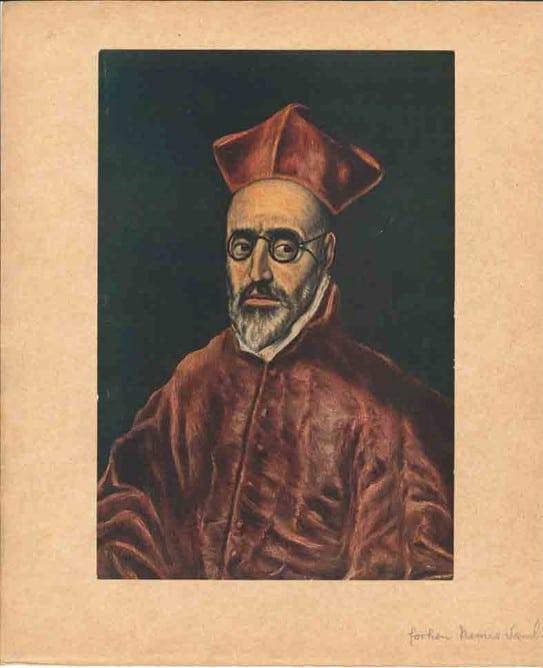 Gengivelse af detalje fra El Greco's Portræt af en kardinal, ca. 1600