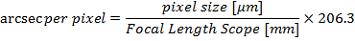 arcsec/pix = (pix size/focal length) * 206.3