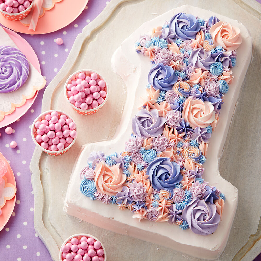 Cake Decorating Ideas   Wilton Blooming Number 1 Cake