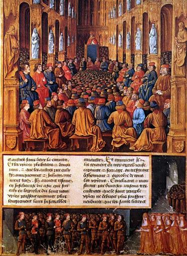 CONCILIO di Clermont. Papa Urbano II al Concilio di Clermont nel 1095 espone alla gerarchia ecclesiastica i due intenti: la pace in Europa e la guerra in Terra Santa. Miniatura del XV secolo.
