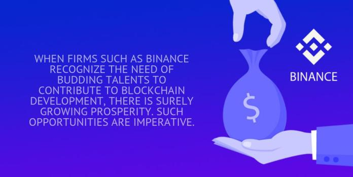 when firms such as binance recognize the need of budding talents to contribute to blockchain development, there is surely growing prosperity