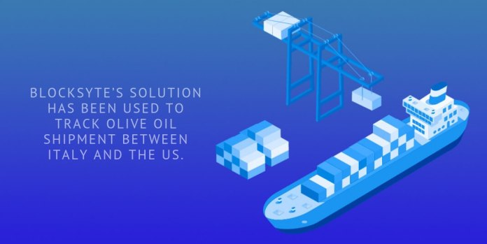 Blocksyte's solution has been used to track olive oil shipment between Italy and the US.