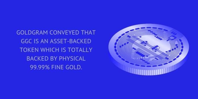 GoldGram conveyed that GGC is an asset-backed token which is totally backed by physical 99.99% fine gold.
