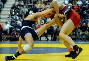Kyle Dake (right) got a leg up against Penn State's David Taylor during their 165-pound championship match at the 2013 Southern Scuffle. (Billy Weeks photo)