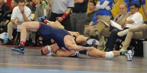 David Taylor needed just 24 seconds to record his third pin in the 2013 Nationals. (Ginger Robinson image)