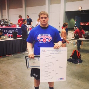 Jake Beistel won the recent heavyweight championship of the NHSCA Freshman Nationals and raised $6,000 to help autistic children.