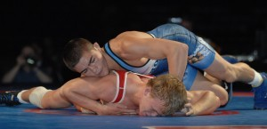 Hayden Tuma (top) defeated Mitch Bengston at 138 pounds in Greco last summer.