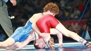 Daton Fix (top) of Oklahoma won the 113-pound freestyle in the Cadet Nationals just days after he won the 106-pound Cadet Greco title in Fargo this summer.