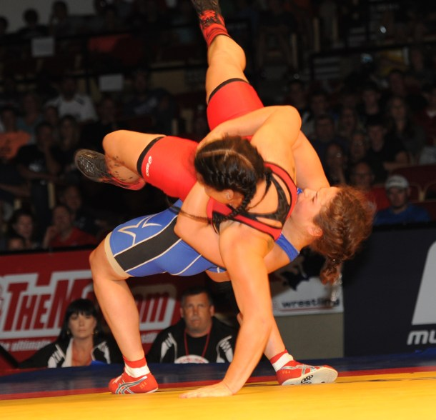 Adeline Gray, who earned a World championship at 147 pounds, is adjusting to the new FILA weight class of 165 pounds and used a bodylock to dominate Jackie Cataline during the recent World Team Trials in Madison, Wisc. (Ginger Robinson photo)